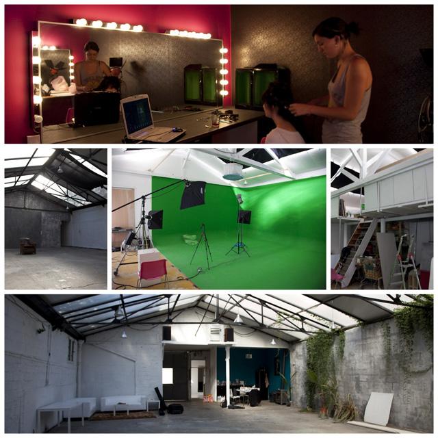 Le studio avec le cyclorama vert pour le tournage