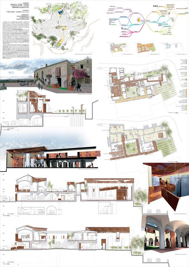 Progetto di riqualificazione del convento dei francescani - Tavole di concorso architettura ...