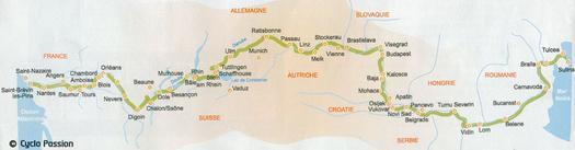 Itinéraire EUroVélo 6, traversée de l'Europe d'Ouest en Est le long des grands fleuves, de l'Atlantique à la Mer Noire