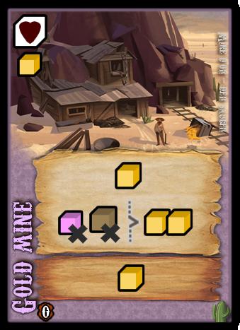 """La """"Gold mine"""" permet de gagner de l&squot;Or évidemment. Et pour peut que vous sacrifiiez dans un abouli un pauvre habitant, triple votre gain. La révélation vous permet d&squot;engranger un Or. Enfin, si vous parvenez à garder cette carte en fin de tour, vous gagnerez un Or et un Attrait."""
